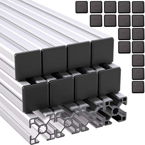 Ulber24- Aluprofil 30x30 Typ B Nut8,12x2m=24m +24x Abdeckkappen Aluminium- Konstruktion- Montage- System- 3030 Alu Schiene Stecksystem Vierkant Profil B-Typ Nut 8