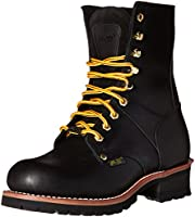 Ad Tec Mens 9 Inches Steel Toe Logger Boots Full Oil Grain Leather Black - Dependable Treaction Lug Out Sole