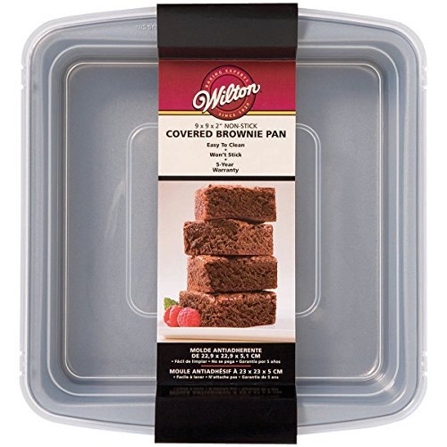 Wilton Recipe Right Non-Stick Square Brownie Baking Pan with Lid, for Transporting Your Dessert from Home to Party, x 9-Inch, 9' x 9', Gray