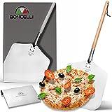 Boncelli Pizzaschieber Edelstahl Set I Ideal: 83cm lange Pizzaschaufel (Massiver Buchenholz-Griff) mit 33x30cm großer Aufnahmefläche und Edelstahl Teigschaber im Set I Von Profis für Profis