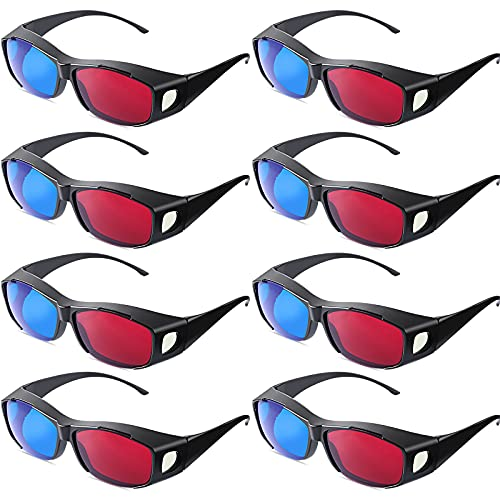 8 Pieces 3D Movie Game Glasses 3D Style Glasses for 3D Movies Games Light Simple Design 3D Viewing Glasses Anaglyph Glasses (Red and Blue)