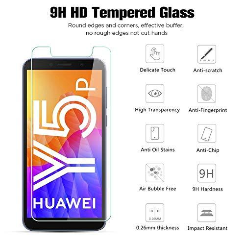 Panzerglasfolie Schutzfolie für Huawei Y5P, 9H Härte, Anti-Kratzen, Anti-Öl, Anti-Bläschen, Anti-Fingerprint, Hülle Freundllich, 2.5D Runde Kante, HD Displayschutzfolie für Huawei Y5P, 3 Stück