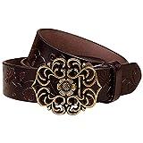 NormCorer Cintura di fibbia in pelle di cuoio genuino per i jeans (115 cm di lunghezza, caffè)