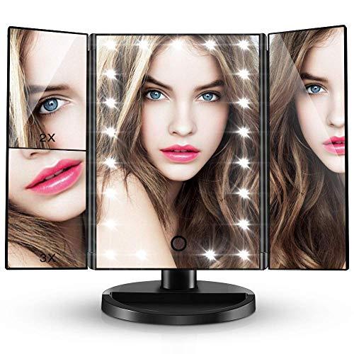 CocoBear Espejo de Maquillaje,Regalos Espejo de Mesa Adjustable 180º con Luz Espejo Cosmético Plegable con Iluminacíon 21 Led Carga con USB o Batería El Favorito de La Mujer Aumentos1x/ 2x/ 3x(Negro)