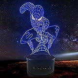 Lámpara de ilusión óptica LED Luz de noche 3D In Battle Spiderman, Lámpara de noche, Lámpara Novedad, Regalo de la suerte, F - Base de audio Bluetooth (7 colores)