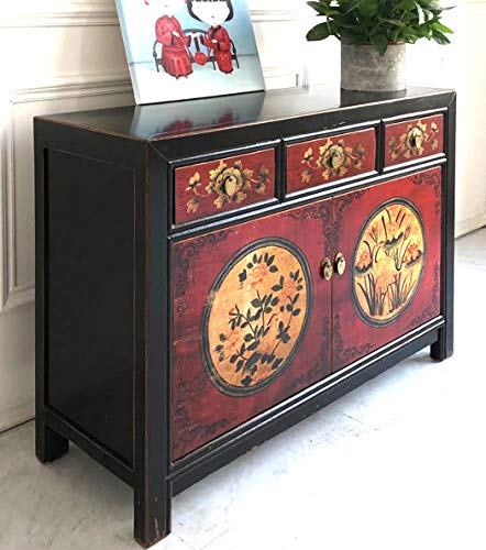 OPIUM OUTLET Asiatisches Sideboard Kommode chinesisch Wohnzimmer-Schrank Vintage Anrichte Buffet schwarz-rot aus Holz