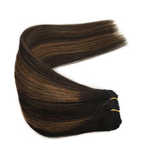 Googoo Human Hair Extensions Clip in Ombre Black to Light Brown Balayage Clip in Hair Extensions Remy Human Hair Real Natural Hair Extensions 7 Pieces 120g 18 inch
