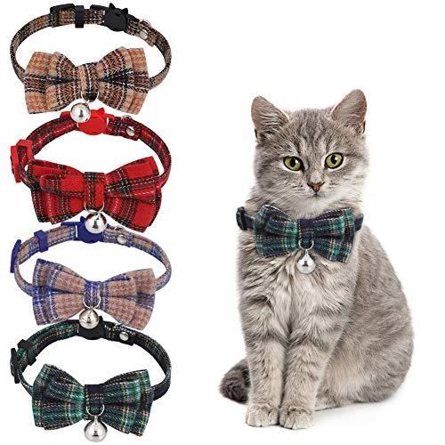 Metagio - 4 collares para perro, gato, ajustable, antiestrangulamiento, con lazo de mariposa y campanilla, sonido suave y hebilla de seguridad para gatito, cachorro, animales domésticos, 20 – 28 cm
