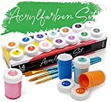 int!rend Acryl Farben Set, 14 wasserfeste Malfarben je 18 ml + 2 Rundpinsel + 1 Flachpinsel, Acrylic Paint für Papier, Holz, Ton, Stein - Acrylfarben zum Malen und Basteln