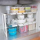 Estante organizador ajustable extensible multiusos para cocina, baño, debajo del lavabo, color...