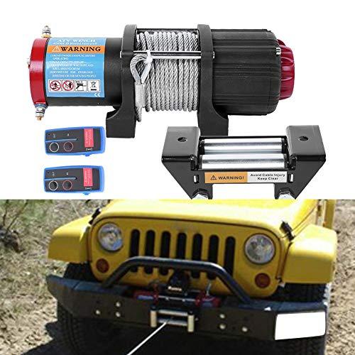 Cabrestante Electrico 12V Quad 4500Lbs/2045Kg para Barcos Coche ATV Remolque con 2 Controles Remotos Inalámbricos y Placa de Montaje