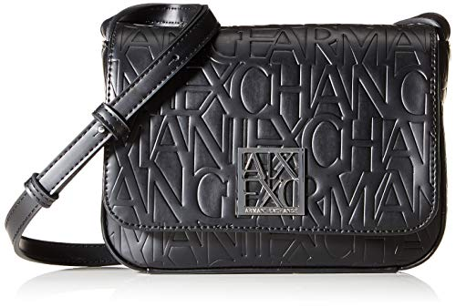 Armani Exchange - Liz Small Shoulder Strap, Shoppers y bolsos de hombro Mujer, Negro (Nero Black), 14x8x20 cm (B x H T)