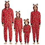 Familien Weihnachten Pyjamas Set Schlafanzug Jumpsuit Hoodie mit Reißverschluss Kapuze Schlafanzüge Overall Hausanzug für die Familien (Baby, 9-12Monate)