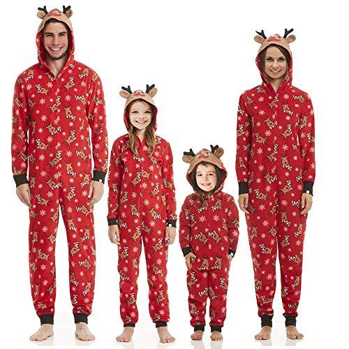 Familien Weihnachten Pyjamas Set Schlafanzug Jumpsuit Hoodie mit Reißverschluss Kapuze Schlafanzüge Overall Hausanzug für die Familien (Frauen, S)
