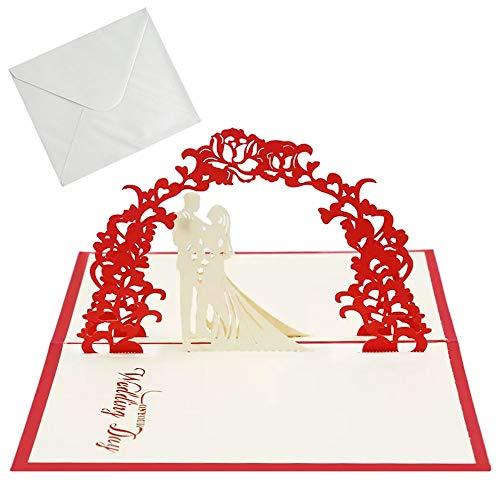 Manlee 3d Pop-up Tarjeta Amor Pareja Tarjeta de Boda e Invitación con Sobre Regalo Tarjetas de Felicitación para San Valentín Aniversario Cumpleaños Regalo Novios Esposa Amantes Detalles