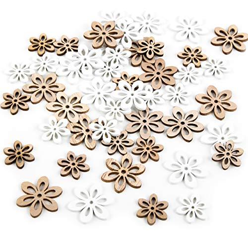 Logbuch-Verlag Set 45 Mini Blumen weiß Natur braun zum Streuen - natürliche Streudeko Blümchen Vintage Tischdeko Hochzeit Holz Streuteile