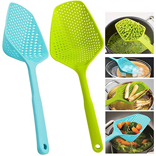 Scoop Colander Strainer Spoon - Kitchen Food Drain Shovel Strainers Nylon Slotted Skimmer and Sifter Sieve with Handle for Cooking Baking - 2 Pieces