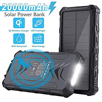 Sendowtek Solar Power Bank, Portable Phone Charger 20000mAh, QI Wireless, Solar Charger with UCB-C Output, SOS Flashlight, Rainproof, Shockproof for Outdoor Activities, iPhone Samsung Galaxy and More