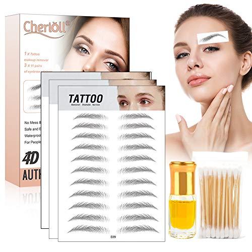 4D Haarähnliche authentische Augenbrauen, Augenbrauen Tattoo, Makellos Wasserdichter Augenbrauenstempel, Imitation Ecological Lazy Natural Tattoo Augenbrauenaufkleber für Frau & Mann 33 Paare
