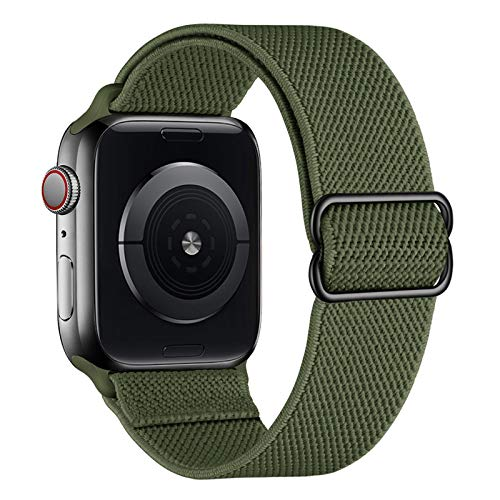 amBand Sport Solo Loop Band Compatible with Apple Watch Strap 38mm 40mm, Adjustable Stretch Braided Elastics Nylon Replacement Wristband Compatible with iWatch Series 6/5/4/3/2/1 SE - Army Green