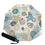 Paraguas plegable de viaje, un paseo en la playa automático TRIF-Old a prueba de viento para mujeres con protección UV Auto abierto y cierre