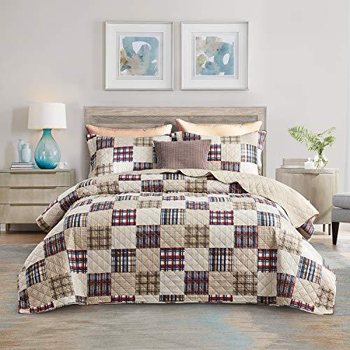 Chixin Bettwäsche-Set, King Size, 3-teiliges Tagesdecken-Set, leicht, dünn, für alle Jahreszeiten, klassisches Schottenkaro-Muster (beinhaltet 1 Steppdecke, 2 Kissenbezüge)