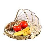 SZETOSY Bambus-Zelt-Korb - Lebensmittel-Servierkorb, Netzkorb, handgewebt, für Picknick, Lebensmittelabdeckung, Outdoor, Schutz vor Insekten und Staub, für Obst, Gemüse, Brot, Bambus, stil 3, Dia.30cm
