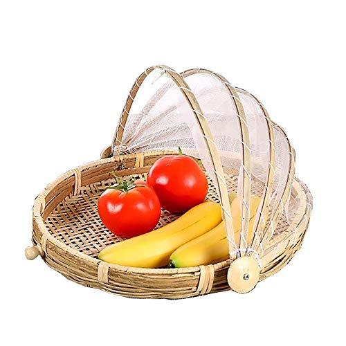 Szetozy Bambus-Zeltkorb – Goodchanceuk Essens-Servierkorb aus Netzstoff, handgewebt, Picknick-Abdeckung, Korb, Outdoor, Insektenschutz, staubdicht für Obst, Gemüse, Brot, stil 3, Dia.30cm