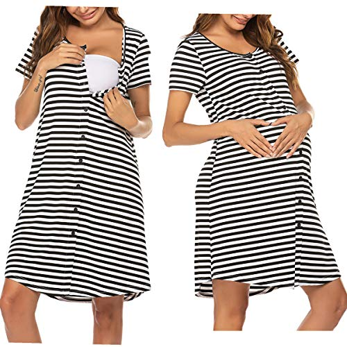 Unibelle Nachthemd Damen Stillnachthemd Umstandsnachthemd Stillkleid Sleepshirt Navyblau m