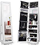 Titan Mall Armoire Jewelry Cabinet Standing Jewelry Organizer Jewelry Armoire with Mirror ...