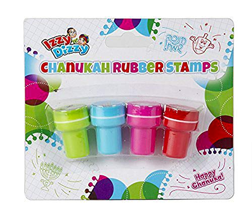 Hanukkah Rubber Stamps - 4 Pack - Hanukah Stationary, Arts and Crafts - Gifts and Games - Izzy 'n' Dizzy