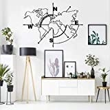Metal World Map Wall Art Compass, World Map Without Borders, Metal Wall Decor, Metal Sign, Wall Hangings (39'W x 30'H / 98x75 cm)