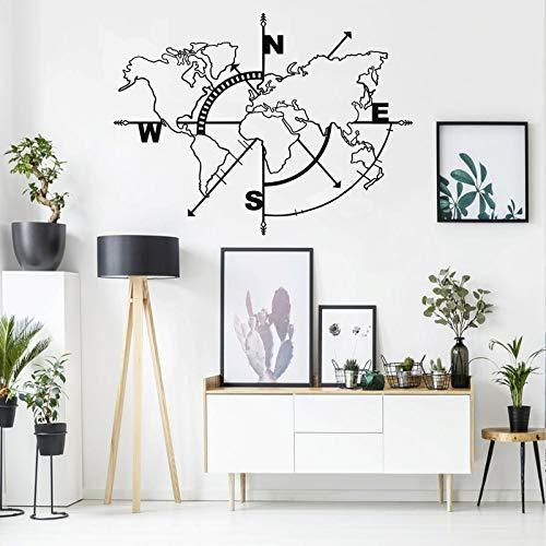 DEKADRON metalen wereldkaart muur kunst kompas, wereldkaart zonder grenzen, metalen muurdecoratie, metalen bord, muur hangen Art_Deco 98 x 75 cm Zwart