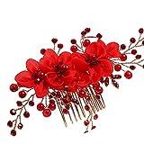 Yazilind Beauty Bridal Cheveux Peigne Rouge Dentelle Fleurs Strass Cheveux Mariage Accessoires pour Femmes