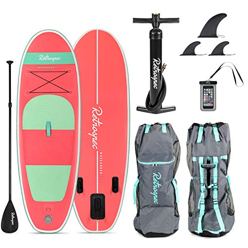 Retrospec Weekender-Nano 8ft. Inflatable Stand Up Paddleboard Triple Layer Military Grade PVC iSUP Bundle w/Paddle Board Carrying case, Aluminum Paddle, Removable Nylon fins, Pump & Cell Phone case