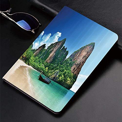 Hülle für iPad (24.638, Modell 2018/2017, 6./5. Generation) Ultra Slim Lightweight Smart Cover, tropisches Set, Railay Beach in Krabi Thailand Kleines Boot Crystal Water Rock C, Smart Covers Auto Wake