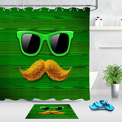 NNAYD1996 zonnebril, groen, oranje, snor, muur van hout, de badkamer heeft een mooie uitstraling en een aangename sfeer.