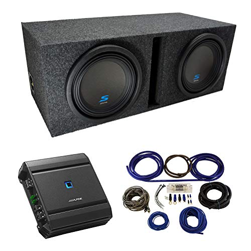 """Universal Car Stereo Vented Port Dual 10"""" Alpine Type S S-W10D2 Sub Box Enclosure with S-A60M Amplifier & 4GA Amp Kit"""