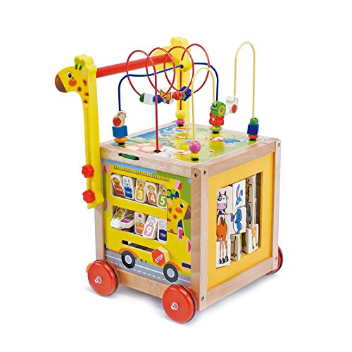 wuuhoo® I Bunter Lauflernwagen Fritzi höhenverstellbar aus Holz I Holzspielzeug und Lauflernhilfe mit gummierten Rädern I Lernlaufwagen und Babyspielzeug mit Puzzle Zahlen und Uhr für Kinder