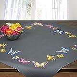Stickpackung SCHMETTERLINGE, Tischdecken Set vorgezeichnet zum Sticken, Stickset mit Plattstich und Stielstich zum Selbersticken