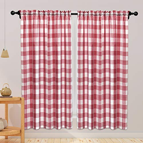 NATUS WEAVER Buffalo Check Cotton Curtains 84 inch Length Kitchen Living Room Bedroom Red and White Gingham Plaid Window Curtain Panels Basement Drapes 2 Panels Rod Pocket Window Treatment Set