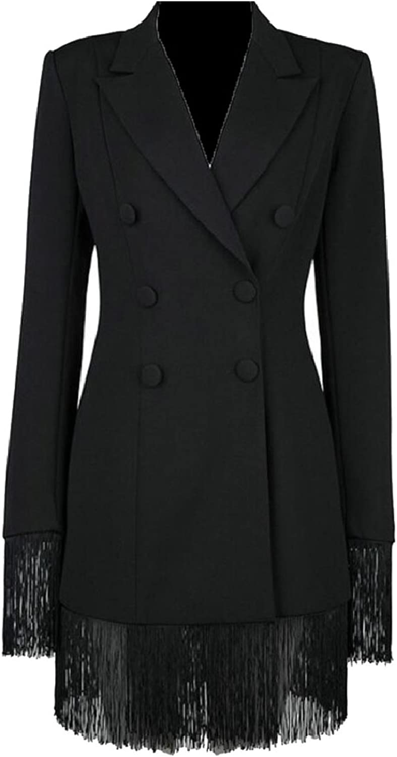 LEISHOP Women Double Breasted Long Sleeve Lapel Button Slim Trench Coat Jackets