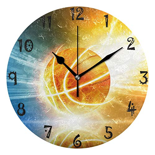 BEUSS Arte Espacio Baloncesto Reloj de Pared Silencioso Decorativo Madera Vintage Relojs para Dormitorio Hogar Oficina Escuela Decoración