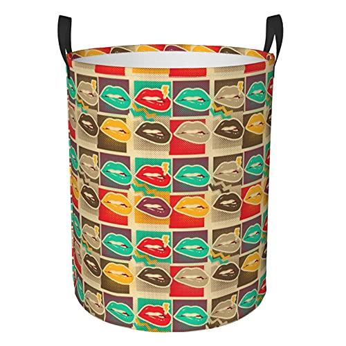 Art Lips Copias Circular Cesto de lavandería, Cesto de almacenamiento redondo plegable, organizador de ropa sucia, para dormitorio familiar