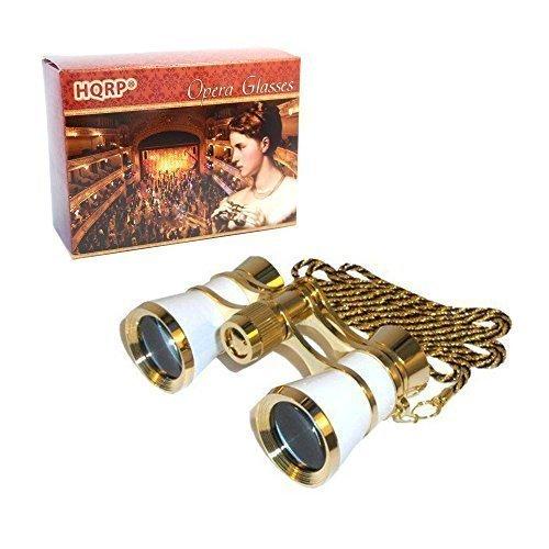 HQRP Prismáticos/Binocular de Teatro 3 x 25 Blanco nacarado con Cadena Dorada con Nueva tecnología de óptica Pura