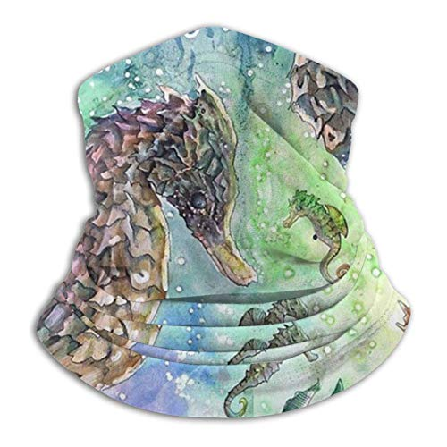 Coodream Pañuelo de microfibra para el cuello de la pintura al óleo, caballito de mar, calentador de cuello, bufanda, para clima frío, invierno, deportes al aire libre, bandana unisex