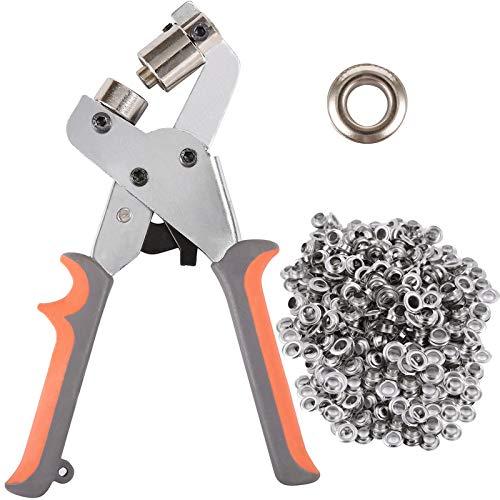 BIZOEPRO Grommet Tool Kit Grommet Press Punch Kits Grommet Machine Pliers Handheld Eyelet Kit W/with 500pcs 3/8 Inch (10mm) Silver Grommets