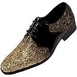 Amali Gradey - Mens Shoes - Oxford Shoes for Men - Tuxedo Shoes - Formal Shoes for Men, Black, Two Tone, Glitter, Sparkle - Mens Dress Shoes; Color: Gold, Size 10 Runs Big GO Full Size UP