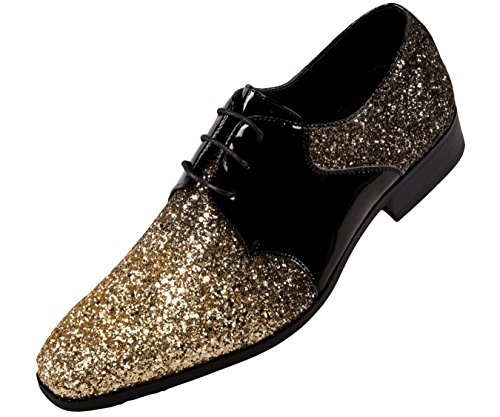 Amali Gradey - Mens Shoes - Oxford Shoes for Men - Tuxedo Shoes - Formal Shoes for Men, Black, Two Tone, Glitter, Sparkle - Mens Dress Shoes; Color: Gold, Size 8.5 Runs Big GO Full Size UP