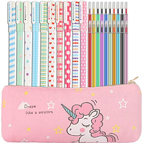 Chinco 31 Pieces Gel Ink Pens Pencil Case Set Unicorn School Supplies for Students, Includes 10 Pieces Colorful Gel Ink Pens, Unicorn Pen Case, 20 Pieces Replaceable Color Refill Ink, Fine Point Pen